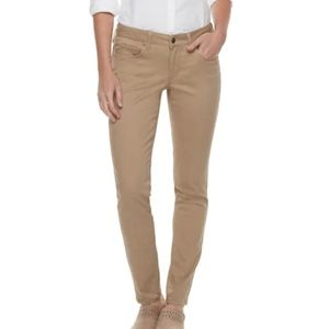 Sonoma Tan Supersoft Mid Rise Sateen Skinny Pants